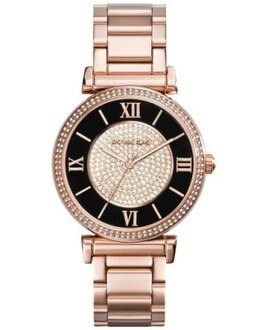 【MICHAEL KORS】正品 羅馬字母璀璨晶鑽-玫瑰金腕錶 MK3339
