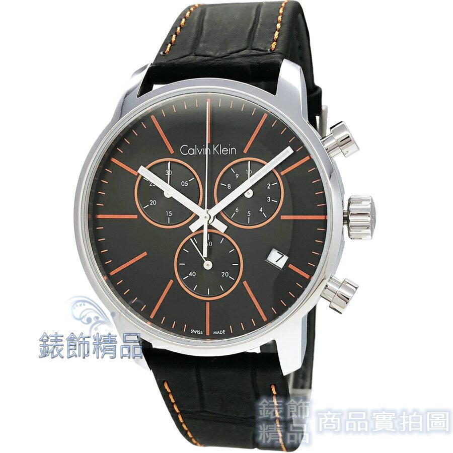 【錶飾精品】CK手錶 K2G271C1 Calvin Klein 時尚都會型男 三眼計時 日期 橘時標 壓紋黑皮帶 男錶