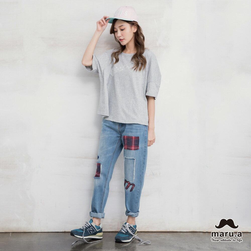 【maru.a】破壞感格紋補丁九分牛仔褲(2色)7915216 4