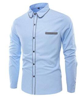 FINDSENSEZ1日系流行男時尚大碼翻領純色包邊長袖襯衫長袖T恤上衣