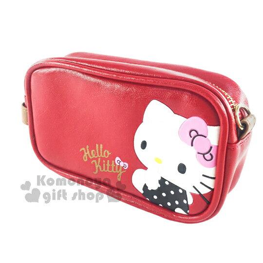 〔小禮堂〕Hello Kitty 皮革化妝包《紅棕.坐姿.黑紫點點衣服》可愛實用
