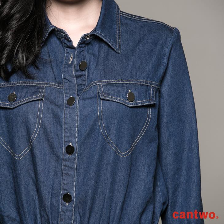 cantwo丹寧襯衫式長袖洋裝(共一色) 4