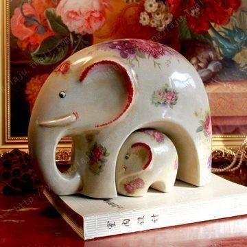 陶瓷之家大象現代家居飾品新房擺件工藝品吉祥動物結婚禮品