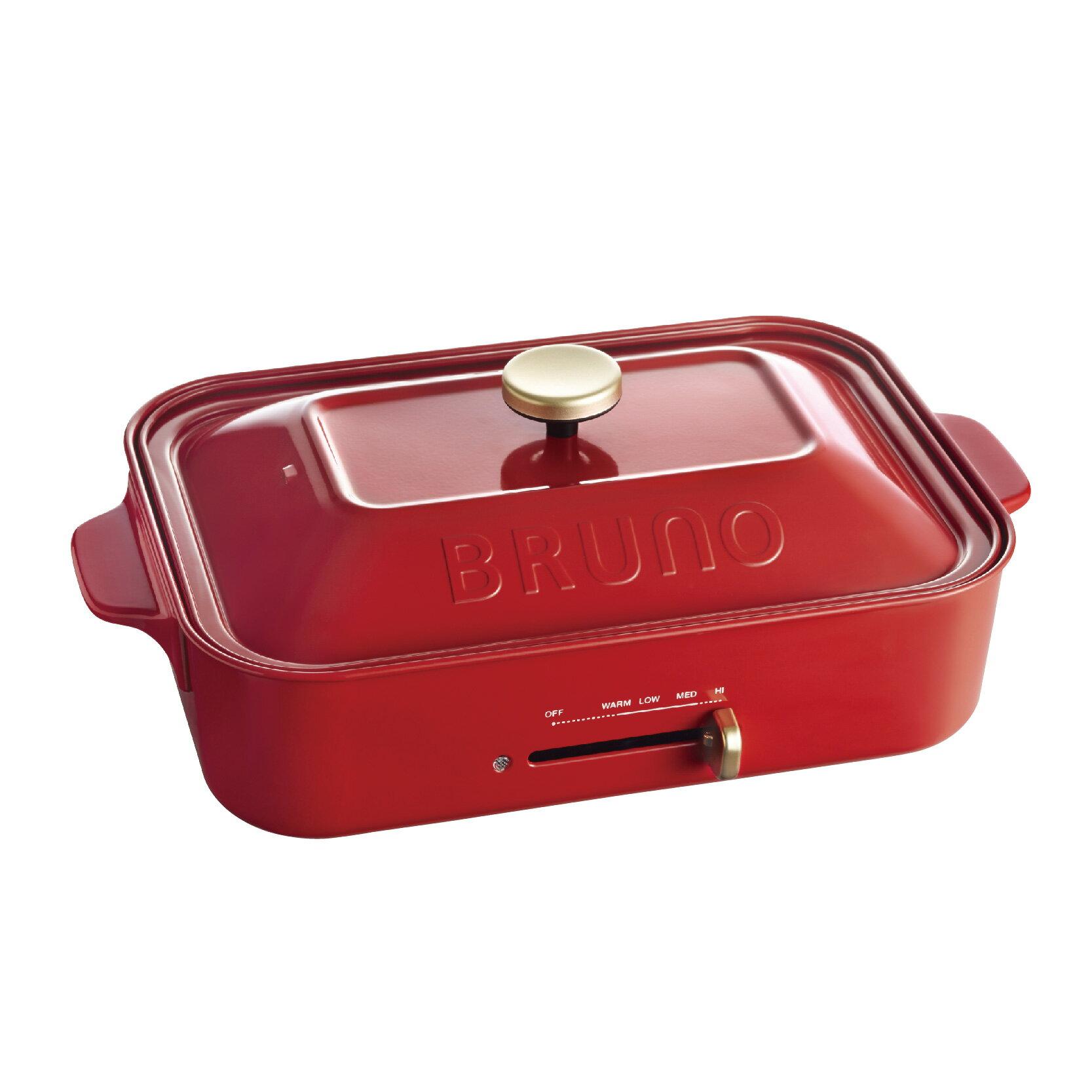 【日本BRUNO】多功能鑄鐵電烤盤(經典紅)+料理深鍋 2