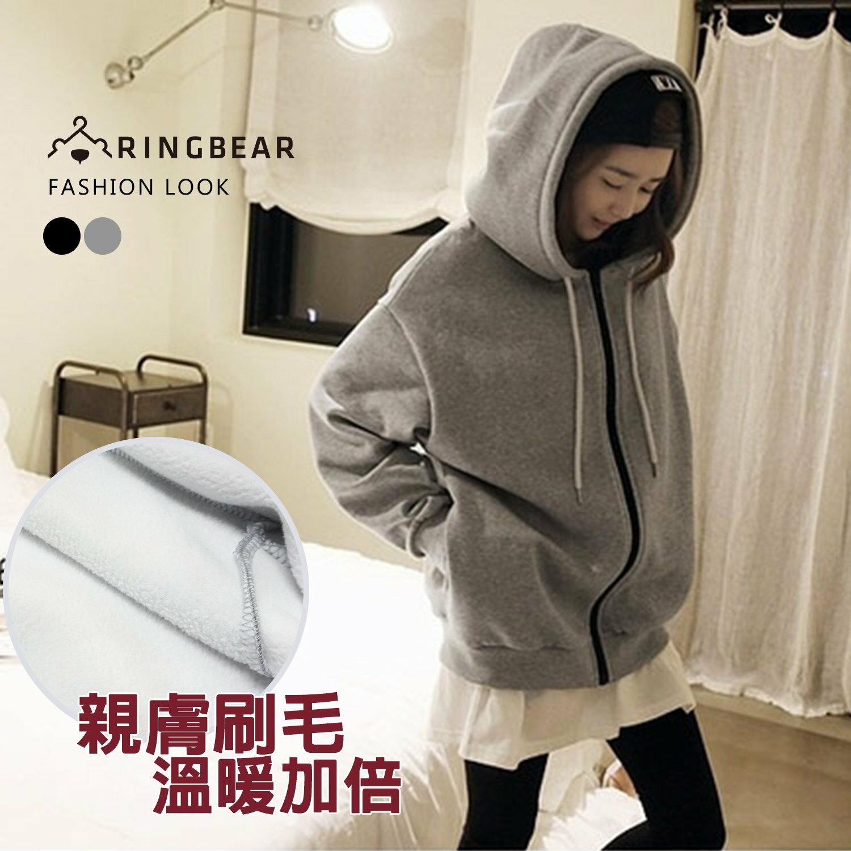 中大尺碼--簡約率性風素面抽繩連帽縮口袖刷毛內裡保暖外套(黑.灰L-3L)-J221眼圈熊中大尺碼 1