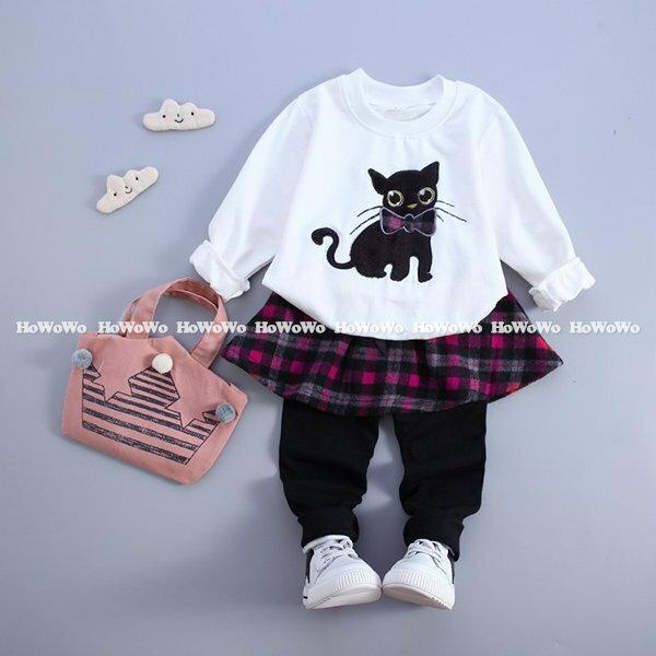 長袖套裝 貓咪長袖上衣 格子裙褲 YN7611 好娃娃