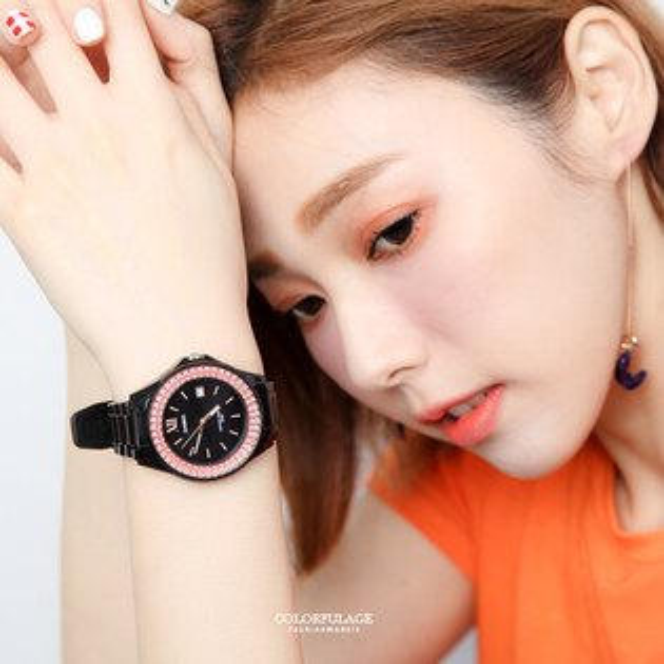 CASIO卡西歐雙層粉鑽休閒運動腕錶個性黑色系手錶柒彩年代【NEC52】