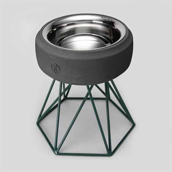 SPUTNIK 寵物碗架 Cozy Cement Bowl - 黑水泥+綠架(M2) Pet's Talk 2