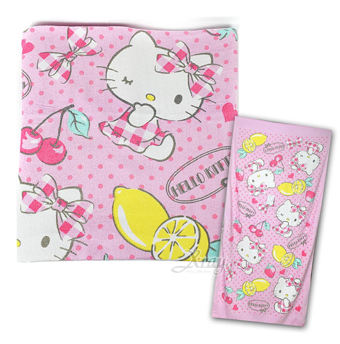 X射線【C259876】KITTY莓果浴巾,擦手巾/洗澡巾/紗布巾/毛巾/開學必備