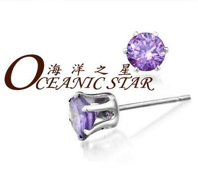 ✻蔻拉時尚✻ [D110E14] 海洋之星 耳釘 晴天瑞士八心八鑽鋯石圓型耳釘