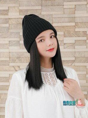 假髮帽子 帽子假髮一體女仿真 時尚短髮冬天針織毛線帽秋冬款潮流短髮冬季  聖誕節禮物