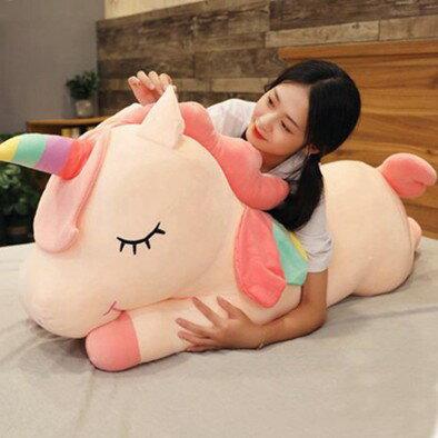 玩偶公仔 網紅可愛獨角獸公仔睡覺抱枕女生玩偶毛絨玩具大號布娃娃床上超軟JY  聖誕節禮物