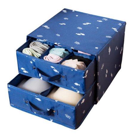 內衣收納盒 布藝抽屜式整理箱內衣盒帶內格放內衣內褲襪子的收納盒【萬事屋】  聖誕節禮物