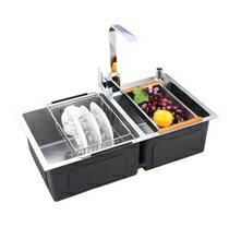 水槽 TIO廚房304不銹鋼水槽雙槽套餐 壹體成型加厚拉絲 洗菜盆洗碗池 萬事屋  聖誕節禮物