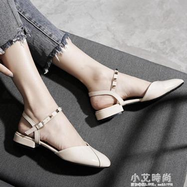 包頭涼鞋女學生夏季新款仙女風溫柔鞋韓版晚晚鞋百搭粗跟網紅  聖誕節禮物