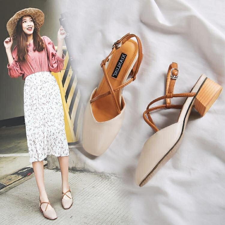 夏季2019新款中跟粗跟涼鞋女包頭復古奶奶鞋方頭中空女鞋瑪麗珍鞋  聖誕節禮物