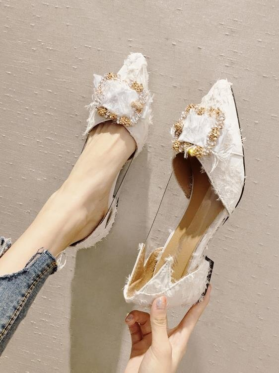 網紅單鞋女2019新款春季百搭中跟尖頭晚晚鞋韓版復古粗跟仙女鞋子  聖誕節禮物