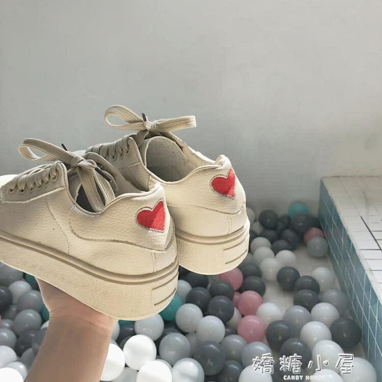 超火的鞋子女2018新款帆布鞋女學生韓版原宿ulzzang小白鞋百搭女  聖誕節禮物