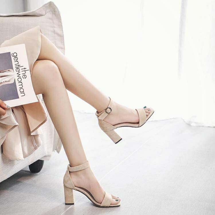 2019新款涼鞋女夏季黑色中跟粗跟百搭時尚一字扣帶羅馬高跟鞋女士  聖誕節禮物