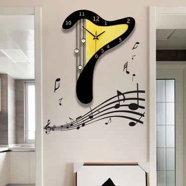 音樂豎琴現代創意靜音鐘錶掛鐘時尚掛錶個性家用裝飾石英時鐘  聖誕節禮物