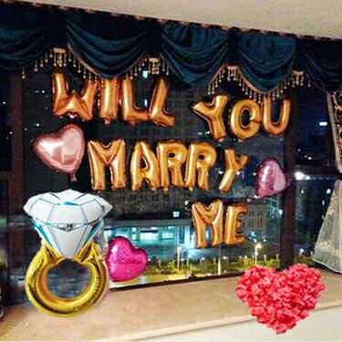 氣球 創意浪漫求婚氣球嫁給我鑽戒字母鋁膜套餐布置裝飾裝扮道具用品  聖誕節禮物