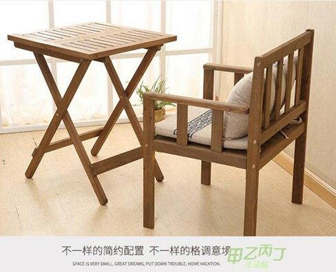 陽臺簡約實木家用懶人靠背椅單人休閒椅茶桌餐桌兩用創意扶手椅子  聖誕節禮物