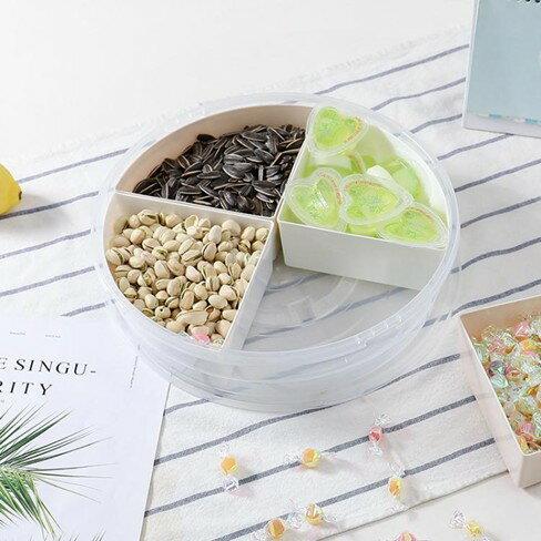 水果碟分格水果盤干果盤子塑料糖果盒帶蓋過年創意多格客廳零食盤子家用   萬事屋  聖誕節禮物