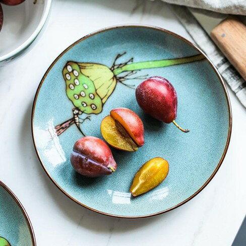 水果碟瓷彩美6寸手繪陶瓷小盤子創意家用涼菜碟子骨碟蛋糕點心水果碟子   萬事屋  聖誕節禮物