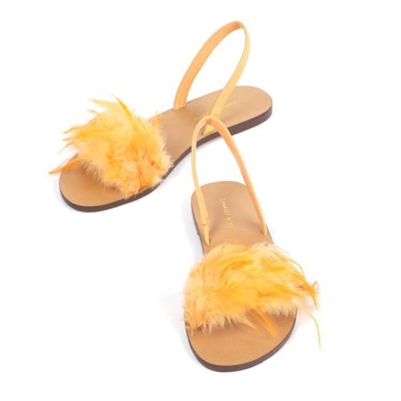 涼鞋女涼鞋女2019春夏新品沙灘度假鞋羽毛涼鞋平底女鞋露趾百搭平跟鞋女   萬事屋  聖誕節禮物