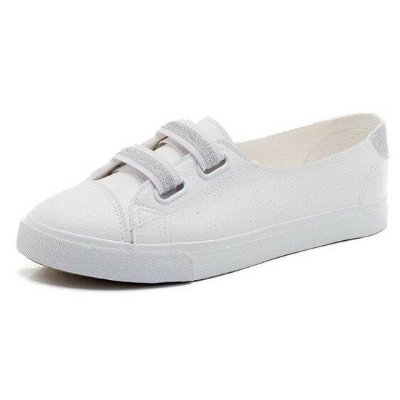 懶人鞋夏季淺口小白鞋韓版皮面一腳蹬懶人鞋百搭透氣帆布女鞋子  萬事屋  聖誕節禮物