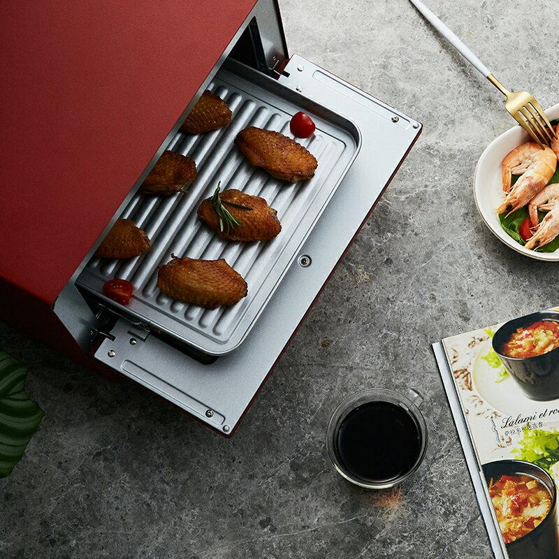 電烤箱 日本單層復古小烤箱家用小型烤箱K-TS2中國紅12L  聖誕節禮物