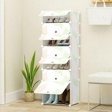 鞋架多層防塵實木紋簡約現代組裝塑料鞋架   萬事屋  聖誕節禮物