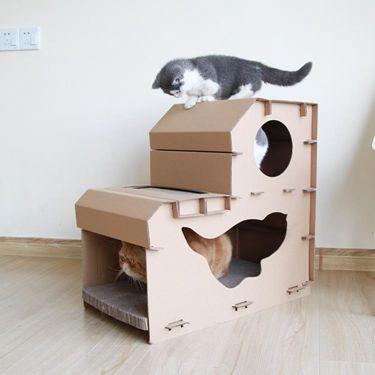 紙貓窩貓玩具用品貓咪房子貓抓板 雙層貓屋貓爬架磨爪器   萬事屋 - 限時優惠好康折扣