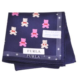FURLA 可愛小熊圖騰品牌字母LOGO圖騰帕領巾(深藍)