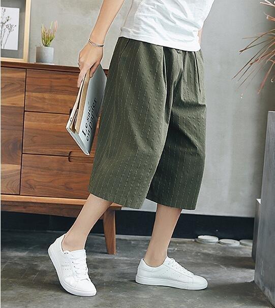 FINDSENSE MD 日系 潮 男 時尚 亞麻 寬鬆舒適 細條紋 透氣 純色素面 七分褲 休閒褲 裙褲