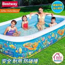 【歡樂家庭零售批發網】歐洲Bestway (長229cmx寬152cmx高56cm) 絢麗海底世界長方形充氣泳池/歡樂遊戲池/球池