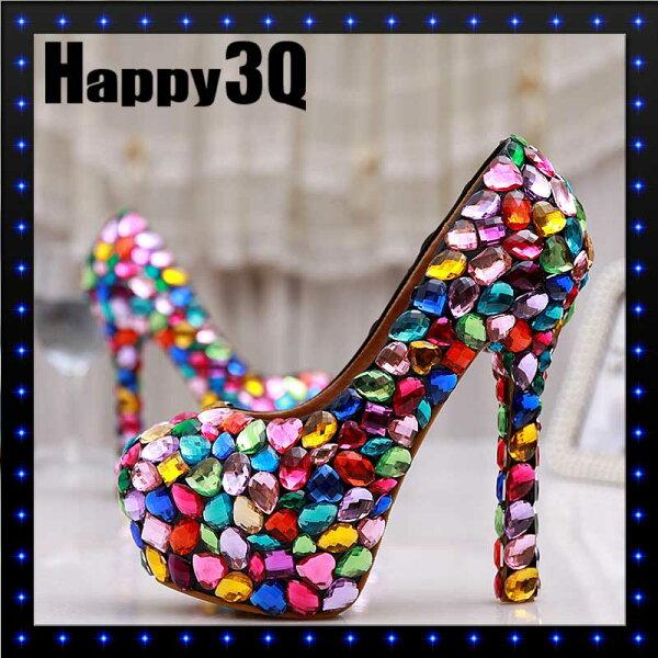 圓頭彩色手工貼鑽仿水晶寶石新娘結婚婚禮高跟鞋-10cm/12cm/14cm31-43【AAA0525】