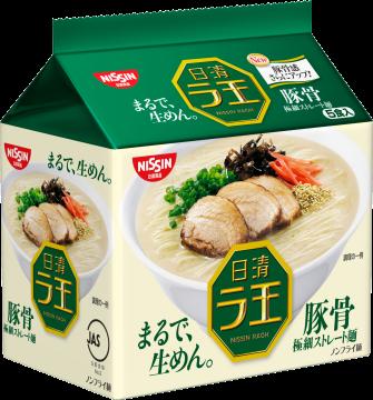 有樂町進口食品  日本 日清*麵王豚骨5食包麵(5包入) 濃郁厚實的湯頭 麵條細緻順口 J130 4902105107249 0