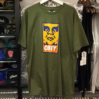 BEETLE PLUS 西門町經銷 全新 美國品牌 OBEY ORANGE ICON FACE BOX LOGO 橘 人臉 文字 軍綠 墨綠 TEE 163080544OLV OB-259