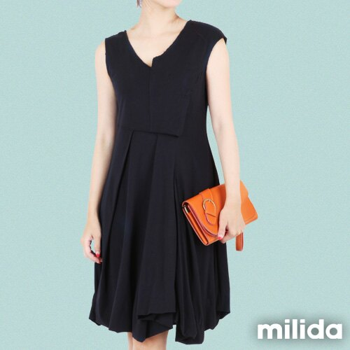【Milida,全店七折免運】-夏季洋裝-無袖款-百搭V領百摺款 1