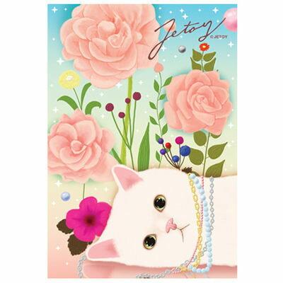 JETOY,Choo Choo 甜蜜貓第二代明信片 Pink rose~快樂生活網