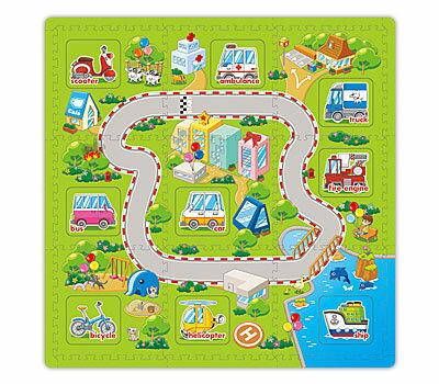 雙語學習教具 遊戲墊 兒童幼兒寶寶爬行墊 互動發聲玩具地墊 交通工具【SV7476】HappyLife