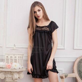 大尺碼睡衣 嚴選推薦Annabery黑色緹花小蓋袖柔緞睡衣【SV7523】快樂生活網