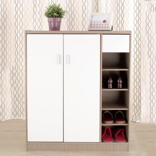 台灣製 雙門鞋櫃 大容量鞋櫃 附抽屜 鞋櫃 花語鞋櫃 日系質感《YV8642》快樂生活網
