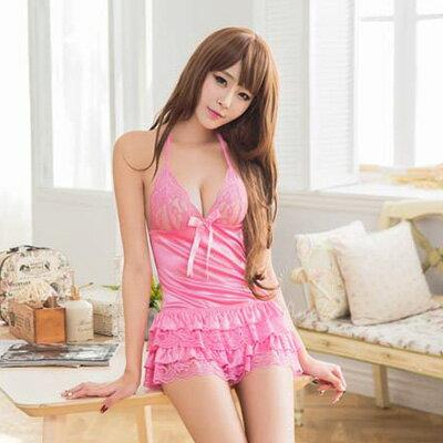 快樂生活網:粉紅蕾絲澎裙後綁帶二件式睡衣女衣閨蜜萌萌【SV8967】快樂生活網