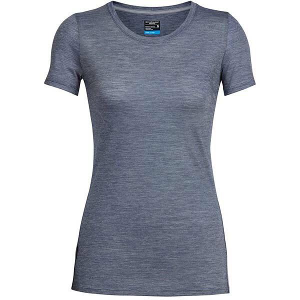《台南悠活運動家》icebreaker 104067 女 COOL-LITE 圓領短袖上衣-條紋白灰