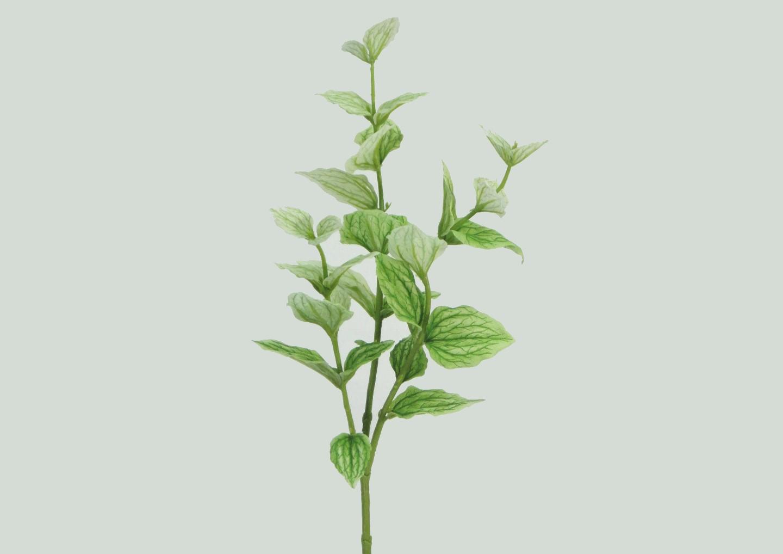 ★超低價★三叉薄荷葉-綠白色 / 人造花 空間 景觀 佈置 造景
