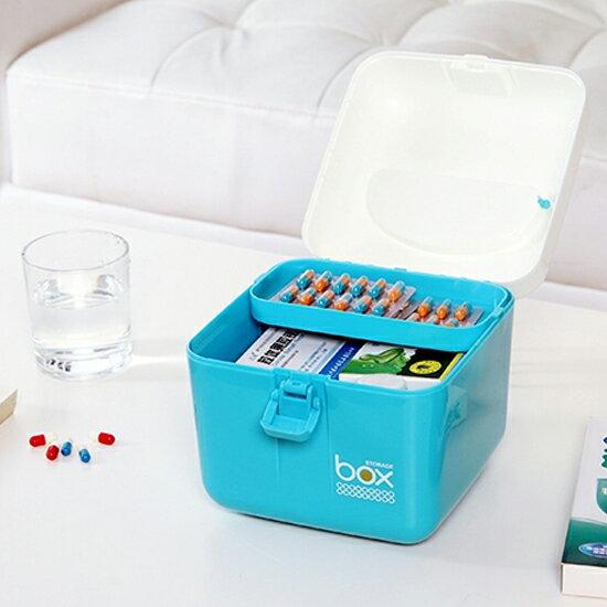 ♚MY COLOR♚多用雜物收納箱 醫藥箱 雜物 保健 多層 分類 整理 材料 零食 提手 工具【G36】
