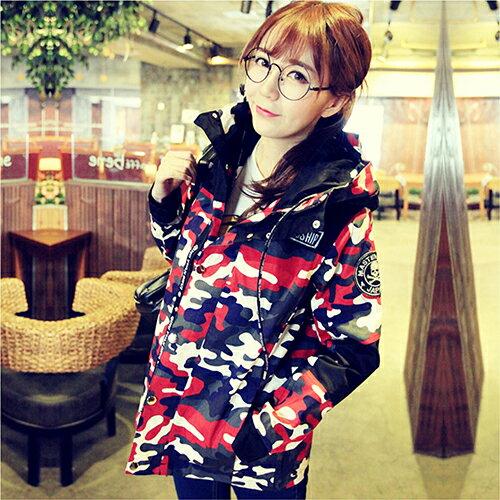 印花風衣連帽休閒學生韓版外套 (2色,S~XL) 【OREAD】 0