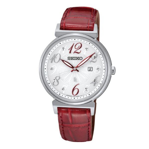 Seiko Lukia V137-0BW0R(SUT259J1)動人艷紅太陽能腕錶/白面32mm